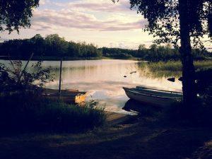 Schweden 2015, Abendstimmung am See, Linneryd Camping